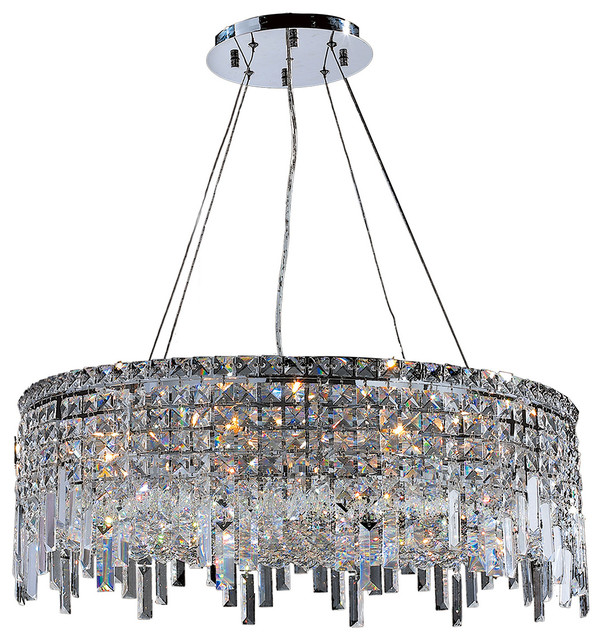 Round Chandelier Light: Cascade 12 Light Chrome Finish And Crystal 28 Round Chandelier,Lighting