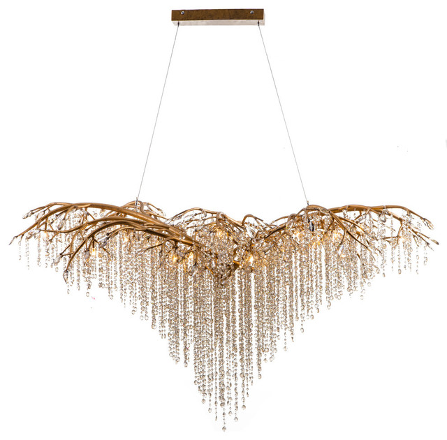 Branch Chandelier With Champagne Beaded Crystals Gold