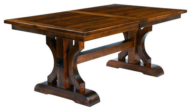 Miraculous Barstow Plank Top Trestle Table With 2 Leaves Natural Oak Home Remodeling Inspirations Cosmcuboardxyz