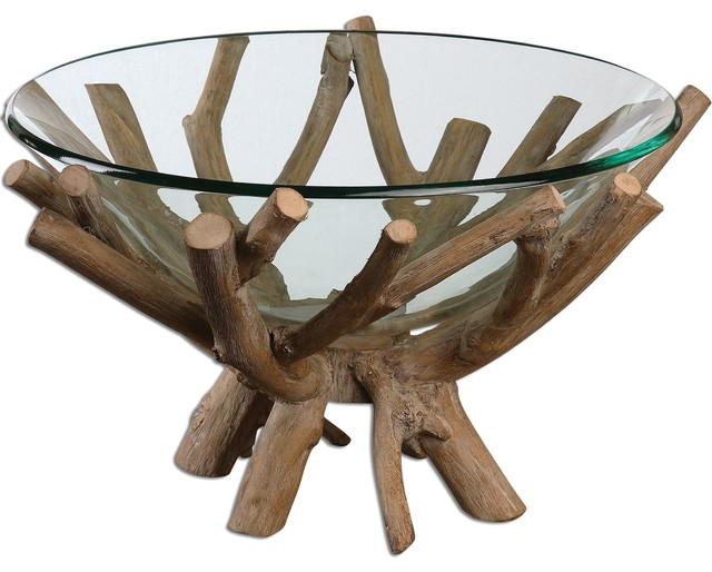 Uttermost Thoro Wood Bowl Beach Style Decorative Bowls by