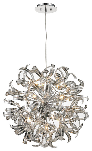Ribbon 13 Light Crystal Chandelier Chrome Contemporary Chandeliers By Crystal Lighting Palace