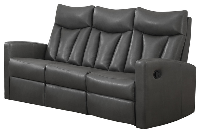 reclining sofa charcoal grey bonded leather transitional sofas by ergode. Black Bedroom Furniture Sets. Home Design Ideas