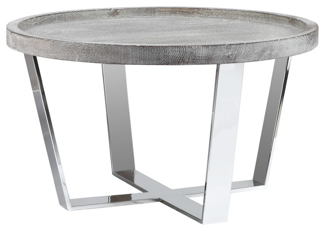 Genial Fletcher Round Oak End Table With Chrome Base