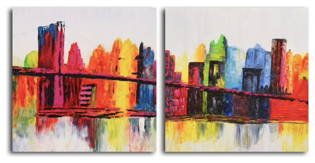 Psychedelic City Hand Painted 2-Piece Canvas Set.
