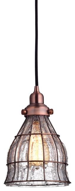 Vintage cracked glass 1 light pendant light red antique for Houzz rustic lighting