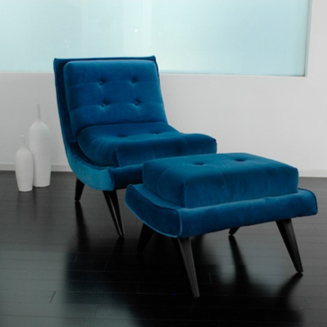 Retro Living Room Chairs armen living retro blue 5th avenue accent chair & ottoman - modern