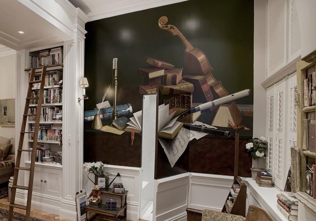书房背景墙美式风格装饰图片