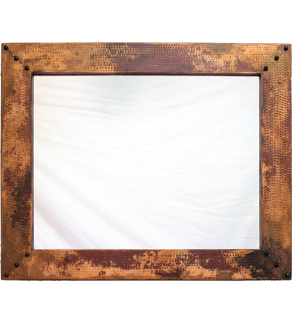 Punded Metal Accent Wall: Hammered Copper Accent Mirror
