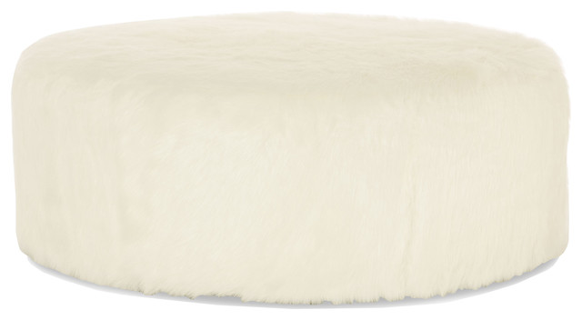 Eveline Hollywood Regency White Faux Fur Round Ottoman  transitional-footstools-and-ottomans - Eveline Hollywood Regency White Faux Fur Round Ottoman