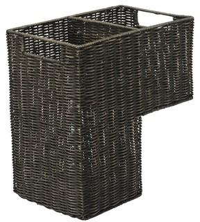 Wicker Step Basket in Dark Brown Wash