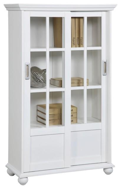 Ashton Oaks Bookcase With Sliding Glass Doors, White.