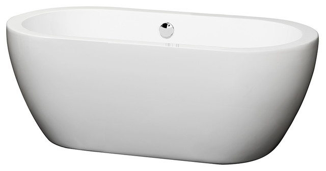 """60"""" Freestanding Bathtub, White With Polished Chrome Drain And Overflow Trim."""