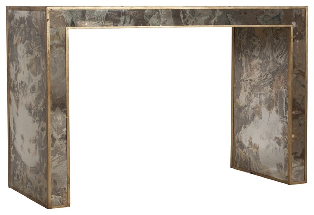 Worlds Away Reverse Antique Mirrored Console In Gold Leaf MADISON G  Contemporary Console Tables