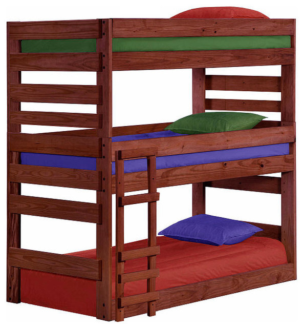 Cass County Twin Triple Bunk Bed, Mahogany.