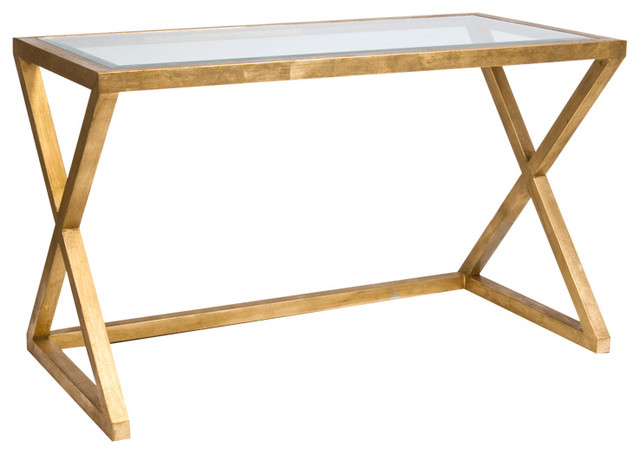 Vanessa Hollywood Regency Gold Leaf Glass Small Desk