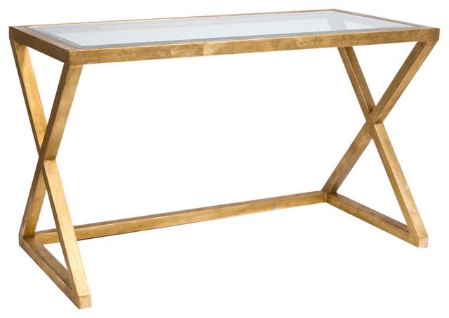 Vanessa Hollywood Regency Gold Leaf Glass Small Desk