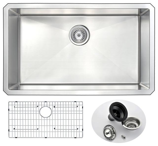 Anzzi Vanguard Series 30 In. Undermount Handmade Stainless Steel Kitchen Sink.