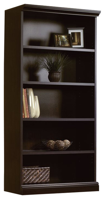 Sauder Camden County Library 5-Shelf Bookcase In Planked Cherry, Estate Black.