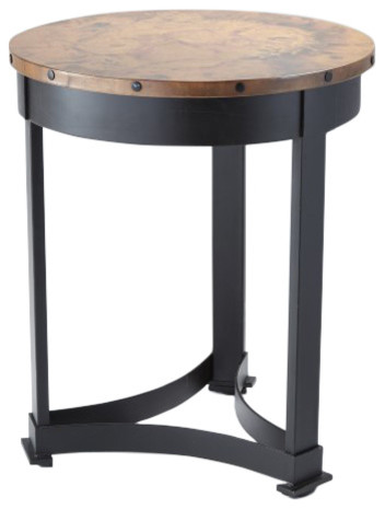 Clic Copper Top Regency Style Accent Table Round Wrought Iron Rustic Lodge