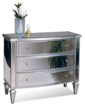 Basett Mirror Bowfront Hall Chest Clear Mirror Silver