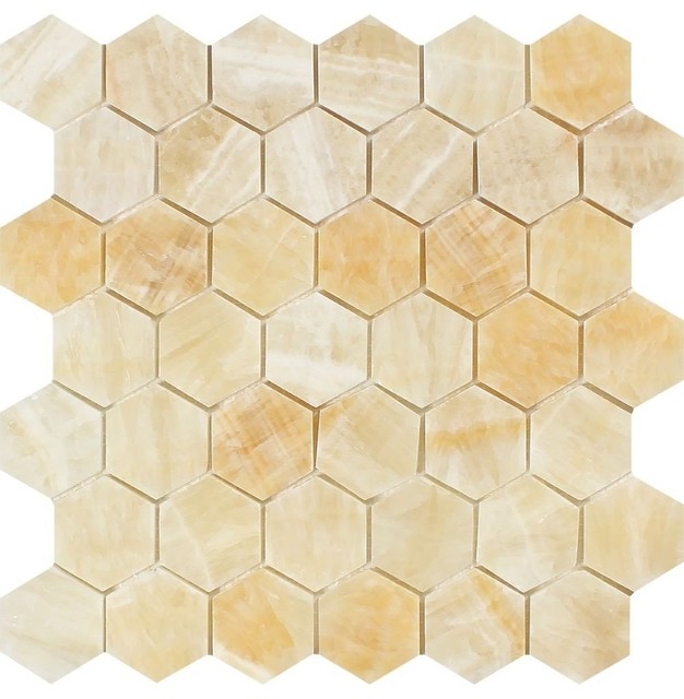 Honey Onyx Hexagon Mosaic 2x2 Polished Mosaic Tiles