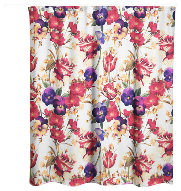 Floral Pansy Print Shower Curtain - Contemporary - Shower Curtains ...
