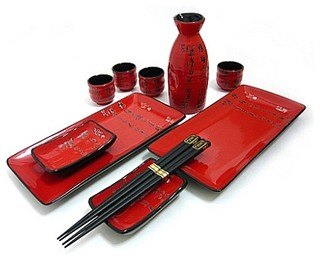 11-Piece Scarlet Script Sushi and Sake Set - Asian - Dinnerware Sets - by My Sushi Set  sc 1 st  Houzz & 11-Piece Scarlet Script Sushi and Sake Set - Asian - Dinnerware Sets ...