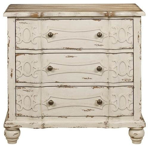 Traditional Styling Wood Chest With White