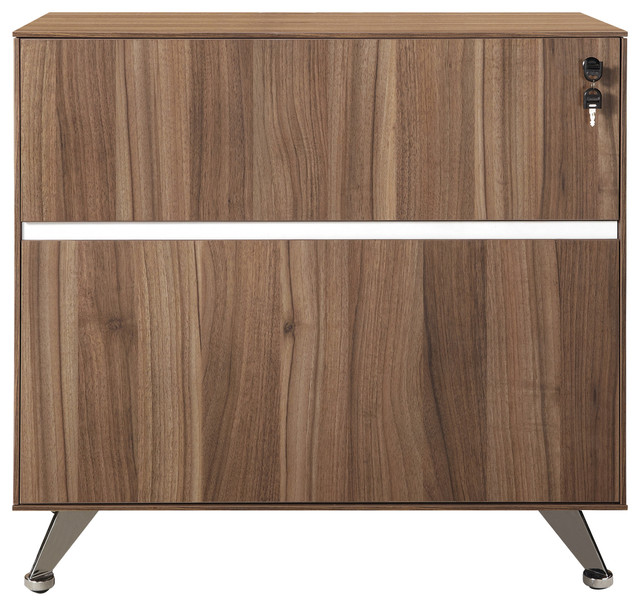 Modern 300 Collection Locking File Cabinet in Walnut (ASSEMBLED) - Filing Cabinets - by OfficeDesk