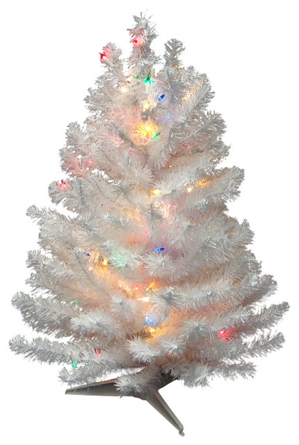Pre-Lit Snow Artificial Christmas Tree, Multi-Color Lights, White ...