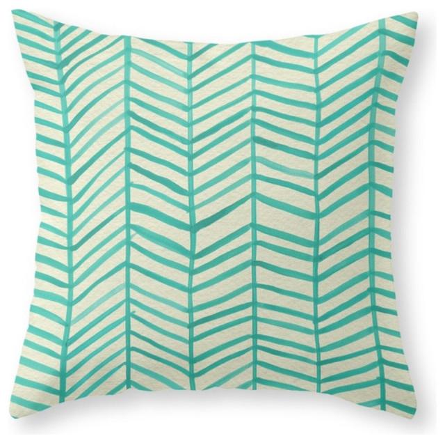 "Society6 Mint Herringbone, Throw Pillow, Indoor Cover, 20""x20"""