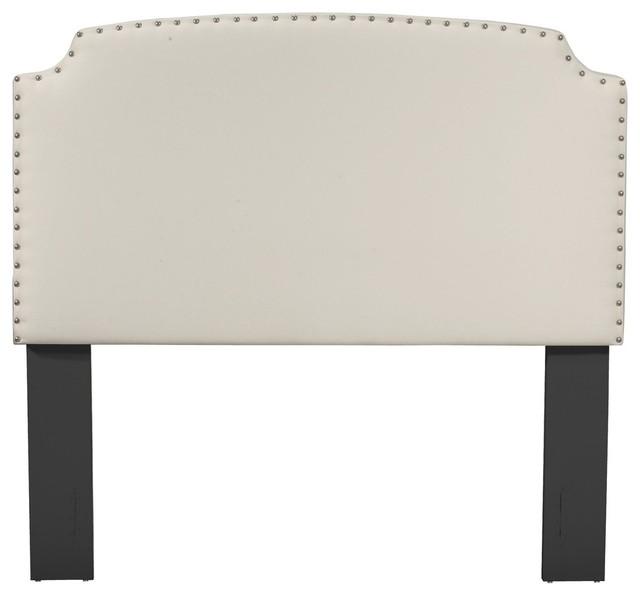 Grosvenor Upholstered Headboard, White, Queen/full.