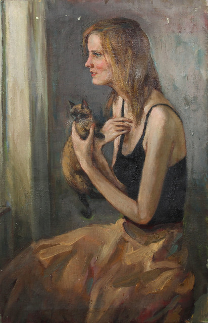 Marshall Goodman, Woman With Cat, Oil Painting