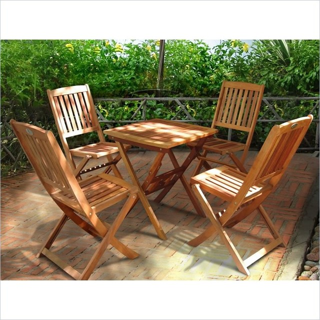 Vifah Glaser Folding Bistro Table Set With 4 Chairs Transitional Outdoor Pub And Sets By Homesquare
