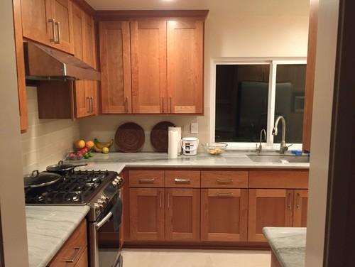 Kitchen remodel - cherry wood, sea pearl quartzite