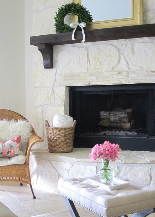 Paint flagstone fireplace