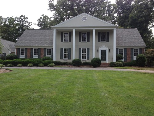 Exterior update for southern colonial revival home for Updated colonial home exterior