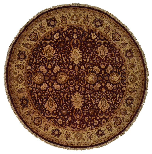 100 Wool Persian Area Rug: 10'x10' Round Peshawar Hand Knotted Burgundy 100% Wool