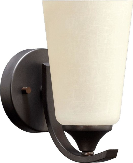 One Light Oiled Bronze Linen Glass Wall Light - Transitional - Wall Sconces - by We Got Lites