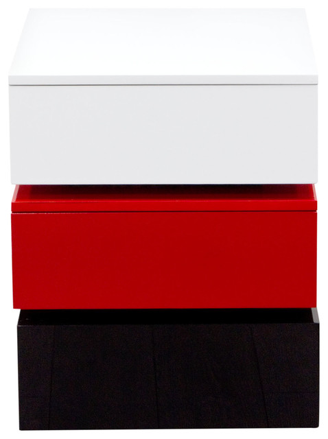 Tri-Color Accent Table With 2 Drawer Storage, White/black/red.