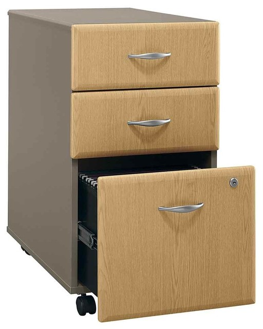 Assembled 3 Drawer File Cabinet w Light Oak Facing, Series A - Traditional - Filing Cabinets ...