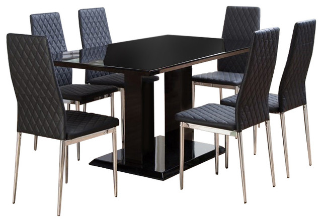 ec420635a8 Imperia Black High Gloss Dining Table And 6 Black Milan Dining Chairs Set -  Modern - Dining Table Sets - by Furniturebox