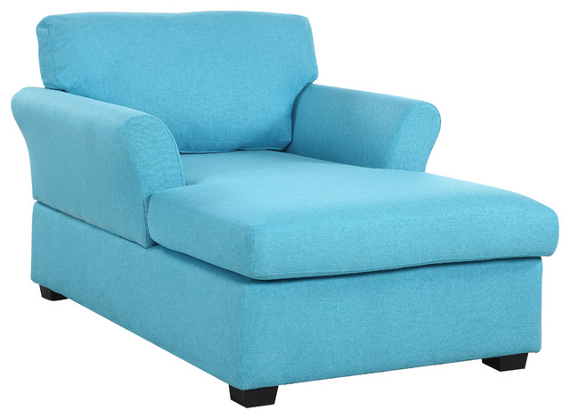 Large Classic Linen Fabric Living Room Chaise Lounge, Blue.