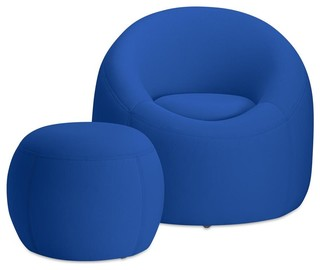 OMO Modern Memory Foam Furniture Set, Cobalt Blue
