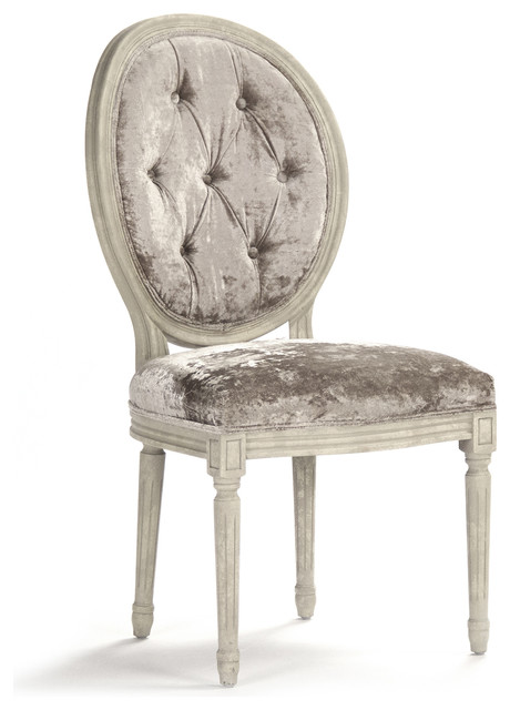 Charmant Pair Madeleine French Country Oval Velvet Dining Side Chair