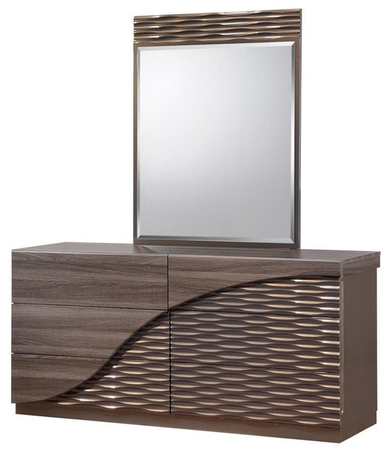 Global Furniture North 6 Drawer Dresser & Mirror, Zebra Wood W/gold, Dresser.