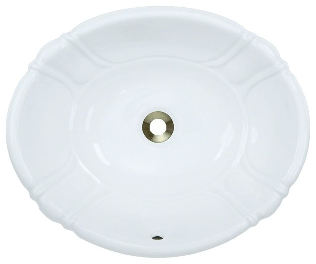 Overmount Porcelain Sink, White, No Additional Accessories.