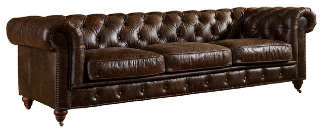 Leather Chesterfield Sofa, Dark Brown