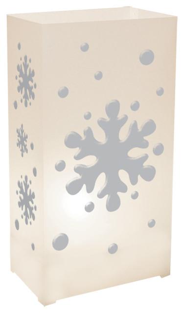 Plastic Luminaria Lanterns, Snowflake, Set Of 12.