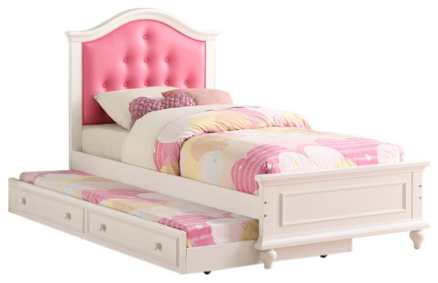 Cherub Twin Bed With Trundle, Pink And White.